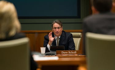 Board Vice Chair Dave Scholl asks for a clarification during an IT presentation at the Ohio University Board of Trustees meeting October 19, 2017.