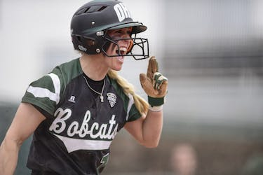 Ohio's Taylor Saxton celebrates after she scores a run in the Bobcats' game against Toledo on March 25. (FILE)