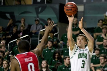 Ohio redshirt sophomore guard James Gollon (#3) puts up a 3-pointer in the first half of the Bobcats' 89-84 win over Western Kentucky on Sunday, Dec. 10. Gollon finished with 13 points and made three straight 3-pointers in a span of a few minutes in the first half.