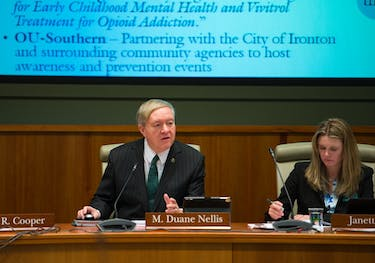 Ohio University President Duane Nellis opens the OU Board of Trustees meeting Friday.