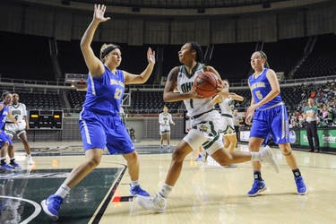 Ohio freshman guard Cierra Hooks (#1) drives to the basket during the second half of the Bobcats's win over Notre Dame College on Nov. 16. (CARL FONTICELLA | FOR THE POST)