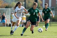 Madelyn Kah fights for the ball during Ohio's game against Toledo on Sunday.