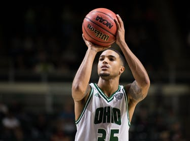 Jordan Dartis takes a free throw during Ohio's exhibition game against Capital University on Sept. 4. The Bobcats won 80-57. (FILE)