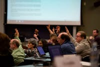 Members of Faculty Senate vote on a issue during the Jan. 9 meeting. (FILE)
