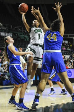 Ohio freshman guard Cierra Hooks (#1) goes in for a shot during the second half of the Bobcats' win over Notre Dame College on Nov. 16, 2017.