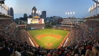 The Cleveland Indians defeated the Detroit Tigers 5-3 on Wednesdsay, setting the American League record for consecutive wins with 21. The Indians' home field, Progressive Field, is pictured above.