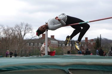 Taylor Smith participates in the high jump during Ohio's Cherry Blossom invitational on Saturday (BLAKE NISSEN | FILE)