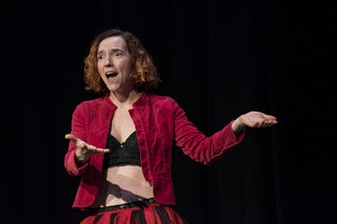 "James McGee-Moore performs her piece ""My Angry Vagina"" during a dress rehearsal for The Vagina Monologue on Feb. 20."