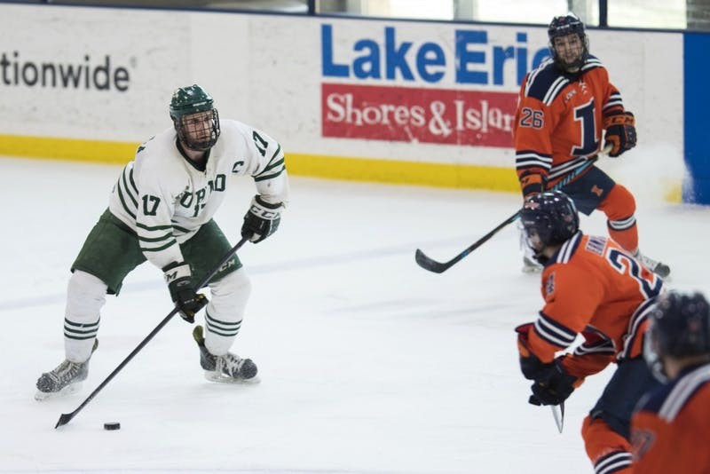 Ohio senior defender Jake Faiella (#17) pushes toward the net during the Bobcats' game against Illinois in the quarterfinals of the ACHA Tournament on Sunday. The Bobcats lost 4-3 in overtime to the Fighting Illini.