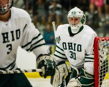 Jimmy Thomas mans the goal during Ohio's game against Jamestown on Oct. 6 (FILE)