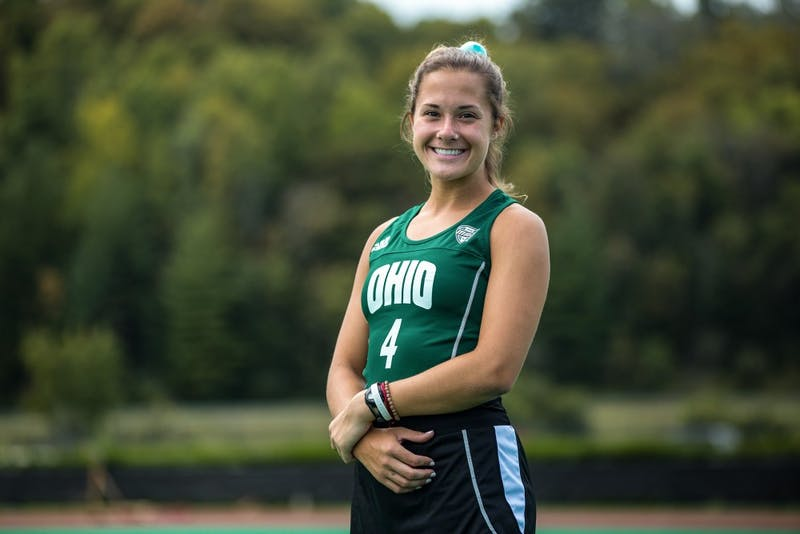 Claire Buckey, an undecided freshman, poses for a portrait while preparing for field hockey practice at Ohio University. Buckey is in the starting lineup for the Ohio University's field hockey team this fall.