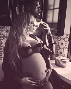 Khloe Kardashian and Tristan Thompson recently had a baby named True. (photo via @khloekardashian Instagram)