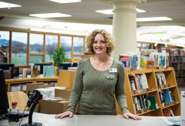 Julie Standish, the new Athens branch manager for the Athens County Public Libraries, poses for a portrait.