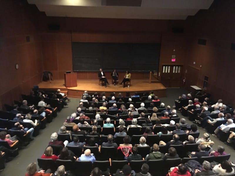 Julia Ioffe discusses Russia, Trump, and her own career alongside Music Professor Simon Morrison and Ferris Professor of Journalism Deborah Amos.