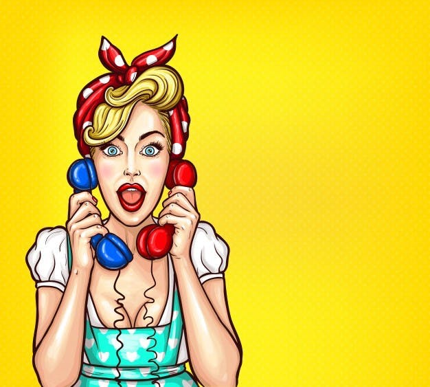 vector-pop-art-illustration-of-an-excited-surprised-blond-woman-with-a-two-telephone-receiver-in-her