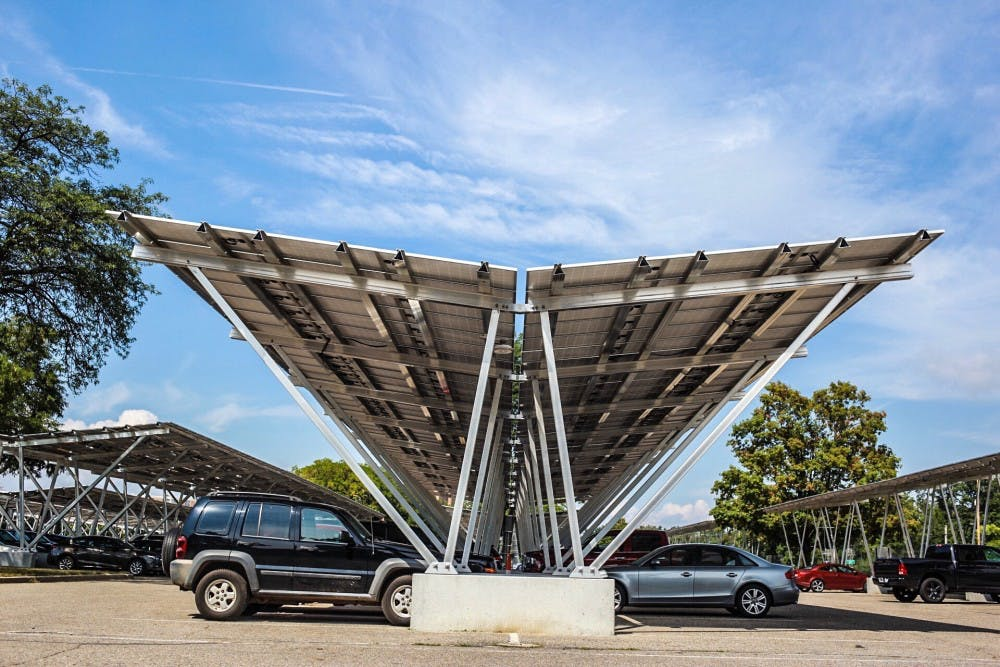 New solar panel carports could save msu 10 million in for Carport construction costs
