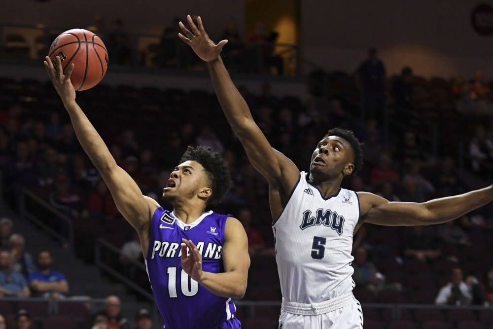Portland Pilots guard Marcus Shaver Jr. goes up for a layup against LMU.