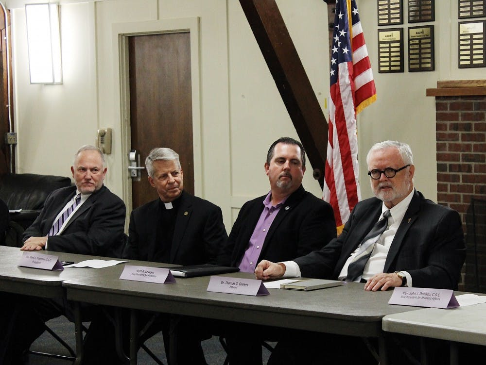 The President's Leadership Cabinet answered questions at the ASUP Senate Meeting on Monday. From left to right, Vice President of University Operations Jim Ravelli, University President Fr. Mark Poorman, Athletics Director Scott Leykam and Provost Thomas Greene.