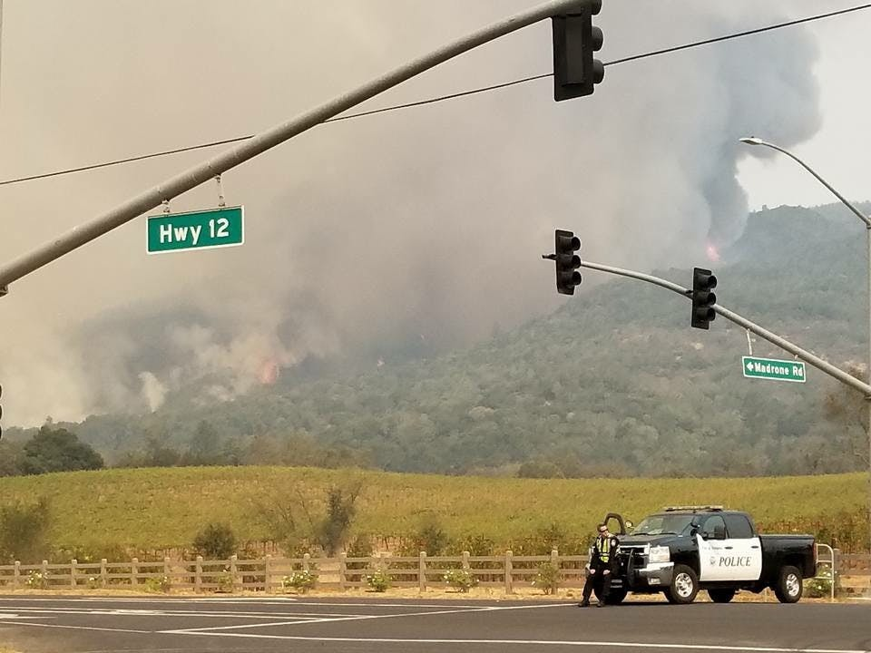 Fire burning in Sonoma County. Submitted by Callie Hogan