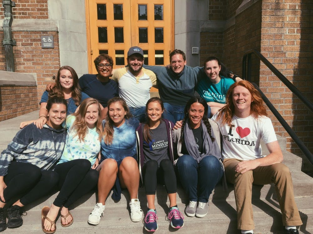 Pictured are service and justice coordinators Anita Oman, Cat Casey, Sitara Nath, Frankie Chicoine, Caity Igarta, Katie Buchanan, Serenity Mallon, Connell Morante, Tom Bornhop and Grant Matthias. Photo courtesy of Anita Oman.
