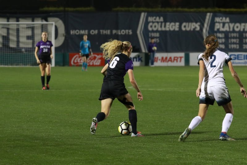 Kimberly Hazlett moves down field with the ball