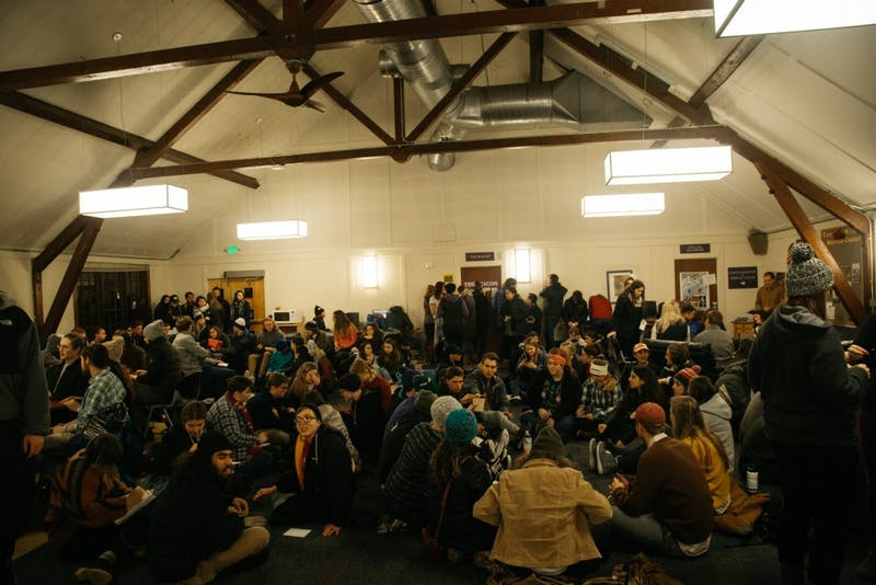 A sexual assault stand in event gathered many students last winter in St. Mary's Lounge.