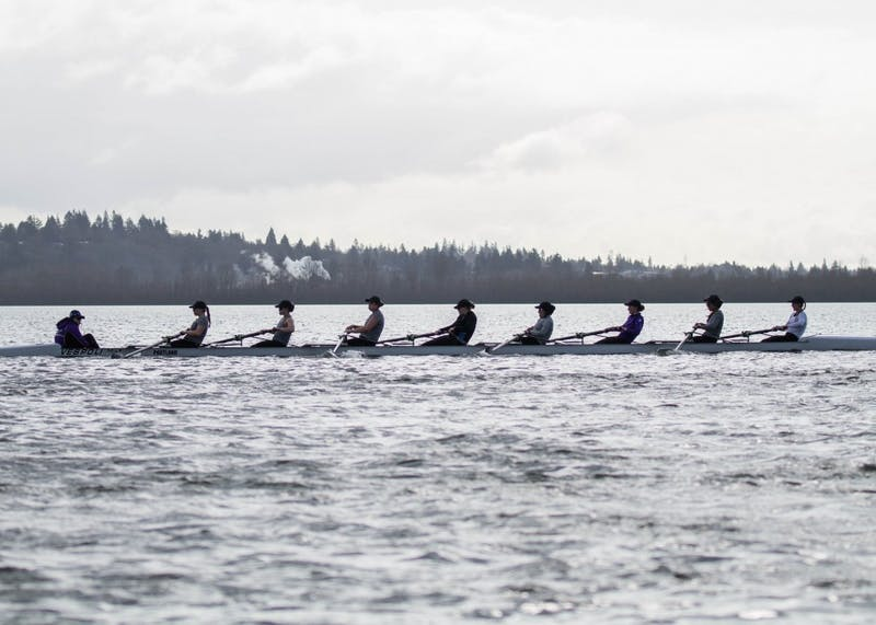 The rowing team wakes up early almost every morning to row here at Vancouver Lake.