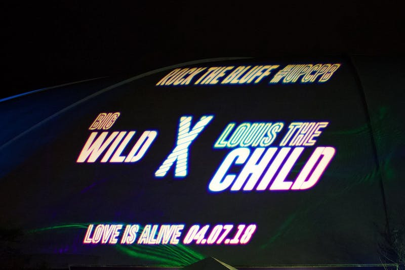 CPB announced the 2018 Rock the Bluff headliners, Big Wild and Louis The Child, by projecting the announcement on the dome of Chiles Center.