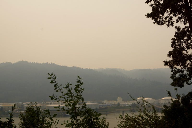 Smoke and ash have fallen on The Bluff after two large fires in The Columbia Gorge began blazing Saturday.