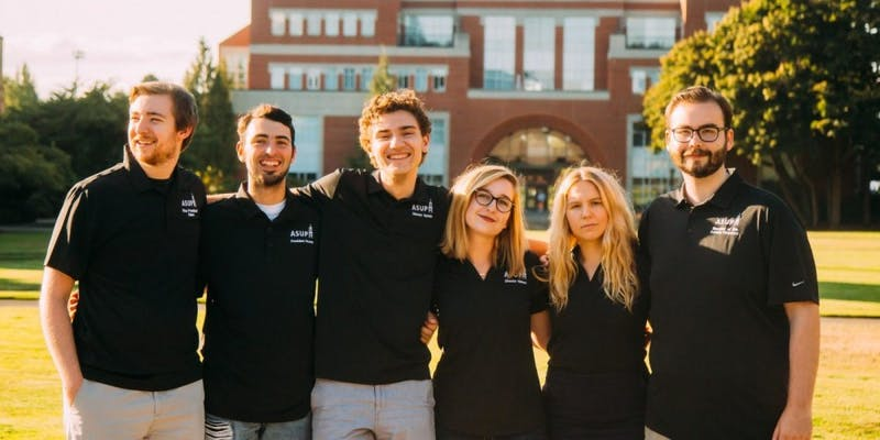 The ASUP Executive Board from left to right: Vice President John Akers; President Brandon Rivera; Communications Director Mario Sarich; Campus Program Board Director Jacque Nelson; Director of Finance Hannah Baade; Speaker of the Senate Alex Peterson