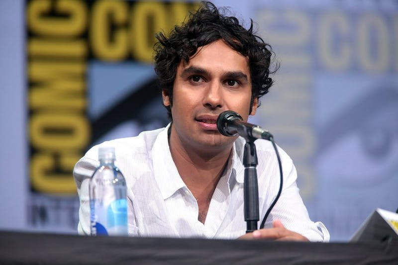 "Kunal Nayyar speaking at the 2017 San Diego Comic Con International, for ""The Big Bang Theory"", at the San Diego Convention Center in San Diego, California. Photo by Gage Skidmore,  taken from Wikimedia Commons."