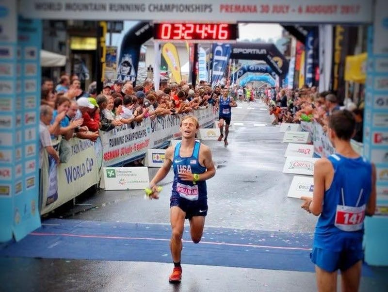 Tayte Pollmann after finishing fourth in the World Mountain Running Championship. Provided by University of Portland Athletics.