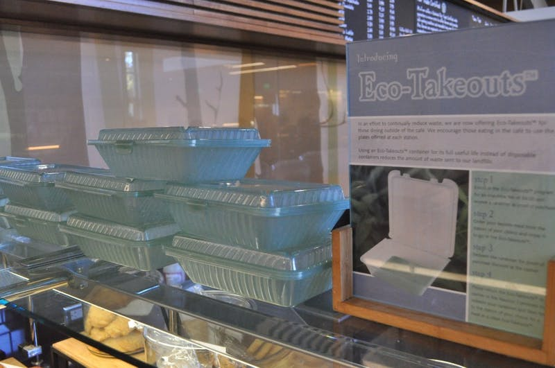 Last semester, Bon Appetit launched reusable to-go boxes called Ecotainer. Now, students have organized a town hall event to discuss sustainability on March 1 in the Mehling Ballroom.