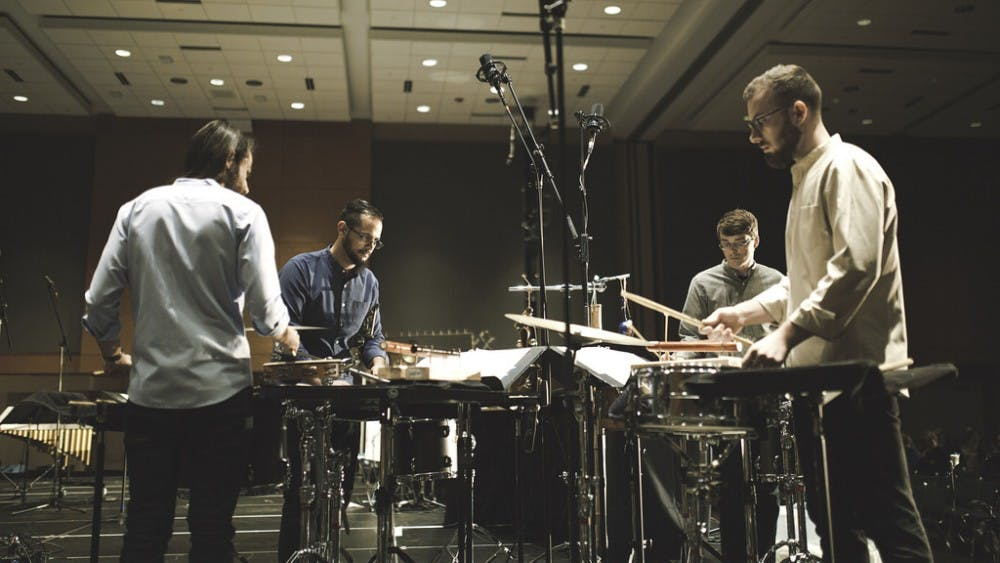 Snares, sirens and bells add unconventional beats to percussion ensemble