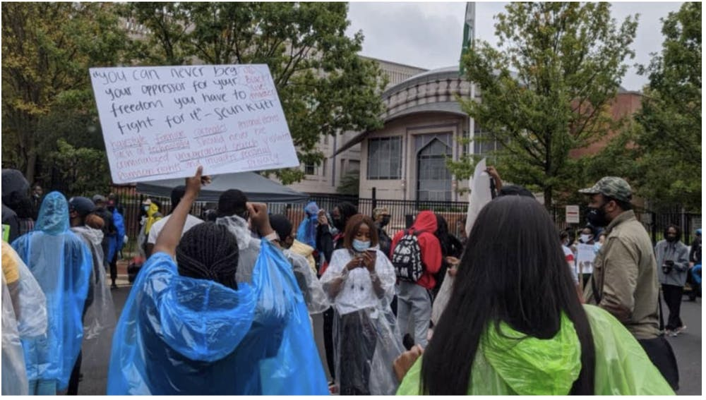 <p><strong>WUSA9 Protesters gathered in from on the Nigerian EMbassy to #EndSars on the first day of protests, October 11th.</strong></p><p><br/></p>