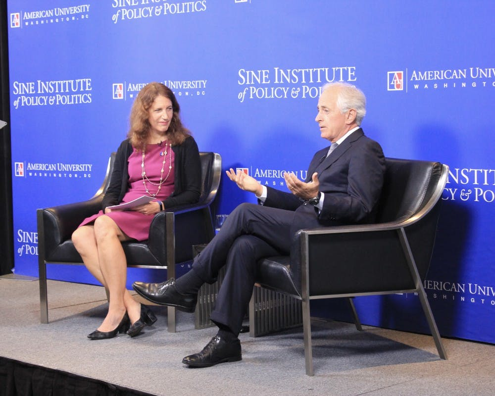Burwell and Corker talk bipartisanship, midterm elections at Sine Institute launch