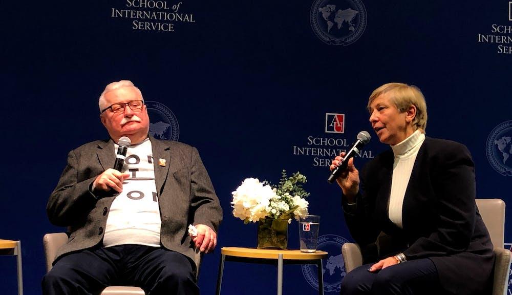 Lech Wałęsa speaks at AU's School of International Service