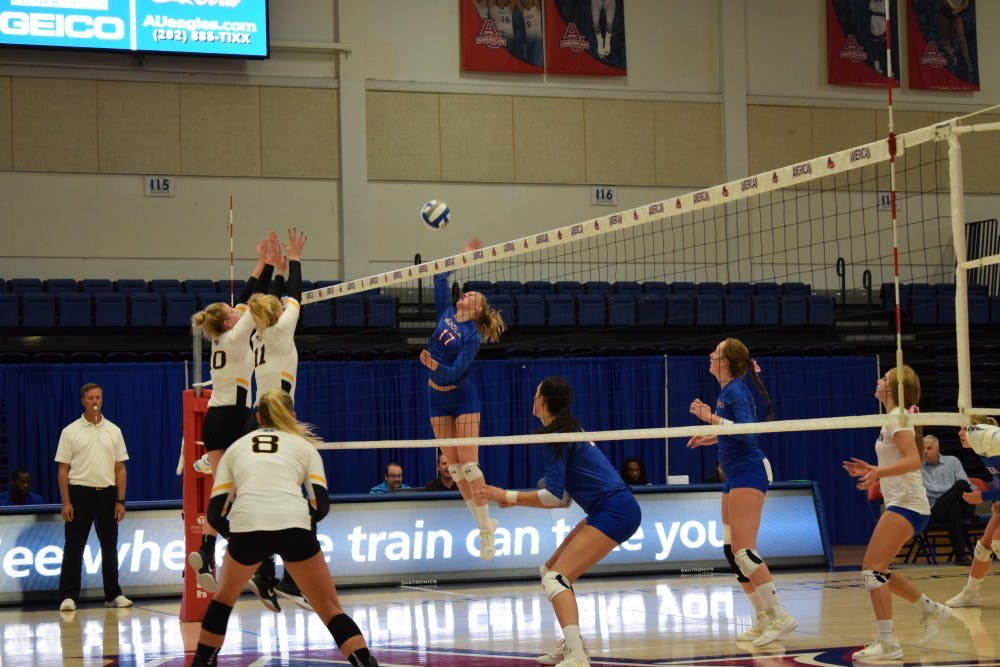 Eagles struggle to three-set victory in Patriot League opener