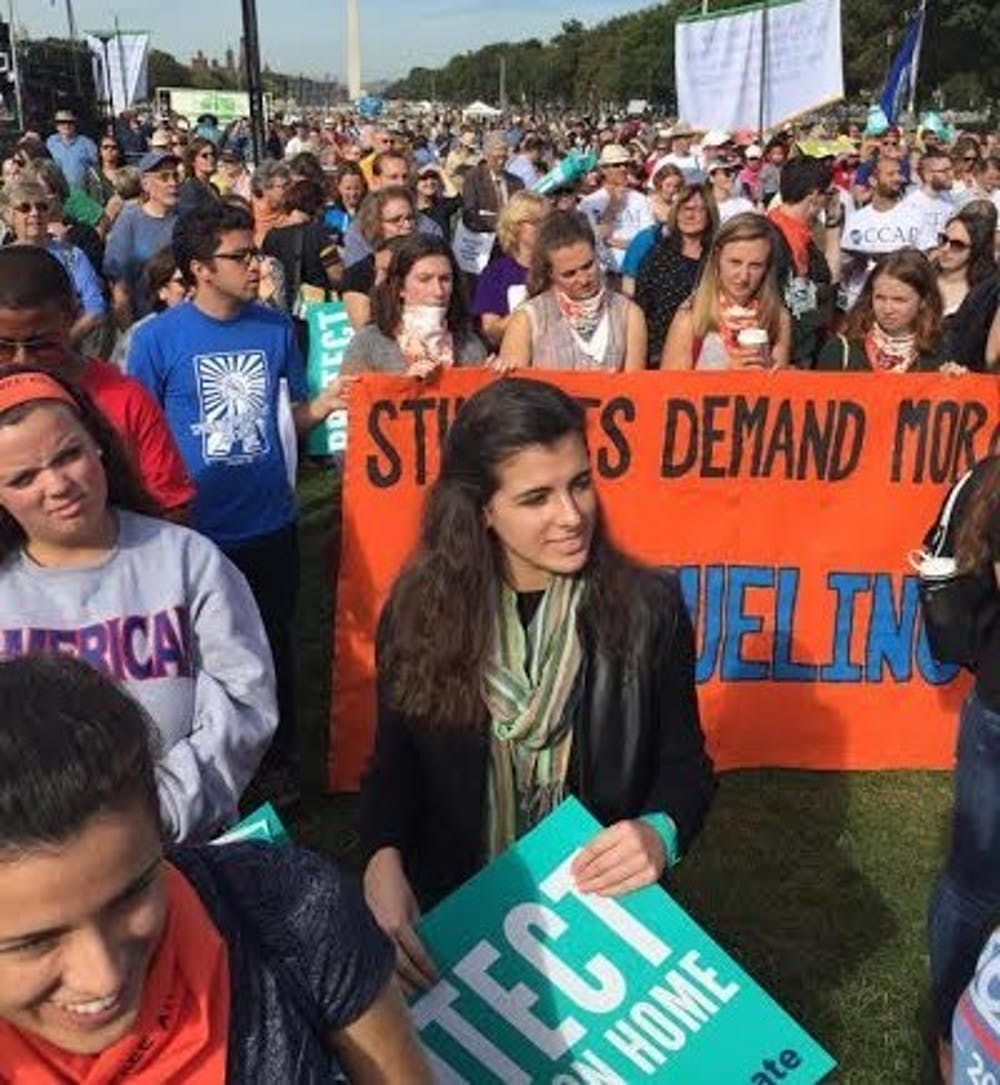 Students attend rally during pope's speech to Congress