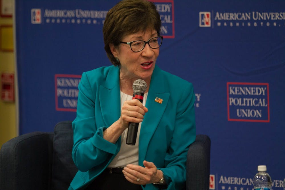 U.S. Senator Susan Collins talks to students about current political climate