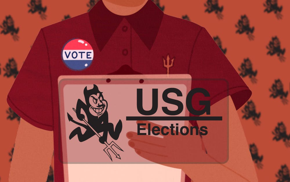 An illustration of of a student holding a clipboard, under a logo saying USG Elections with the ASU Sparky near it.