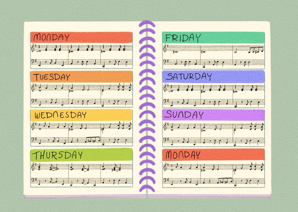 An agenda filled with music notes of each day of the week.