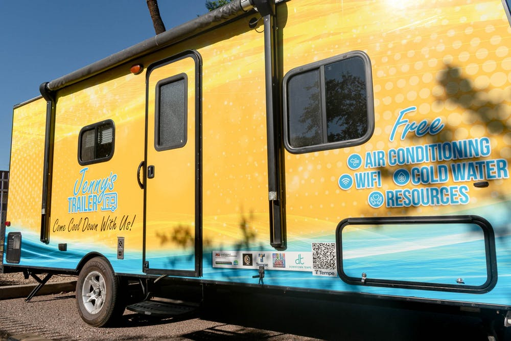 Yellow and blue trailer on ASU's Tempe campus.