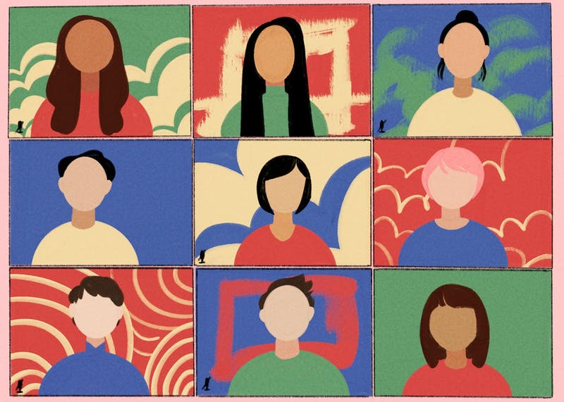 An illustration depicting students of Asian heritage over Zoom.