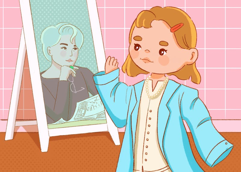 An illustration of the author playing dress up, viewing herself in the mirror as Miranda Priestly from The Devil Wears Prada.