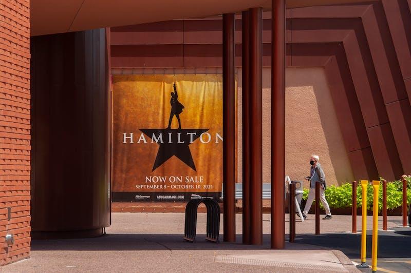 A Hamilton poster hangs outside of ASU Gammage Theater.