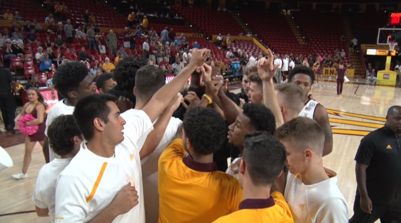 ASU men's basketball huddle before exhibition versus Northern State