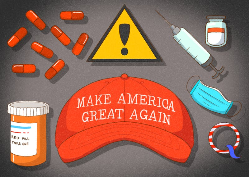 "An illustration of a ""Make America Great Again"" cap surrounded by items of conspiracies such as the red pill, vaccines and QAnon."