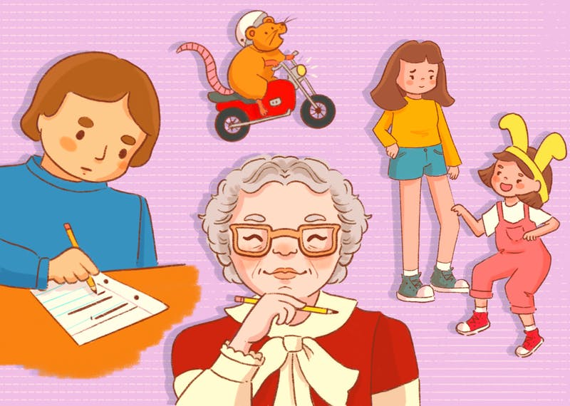 An illustration of Beverly Cleary, surrounded by her works for children.