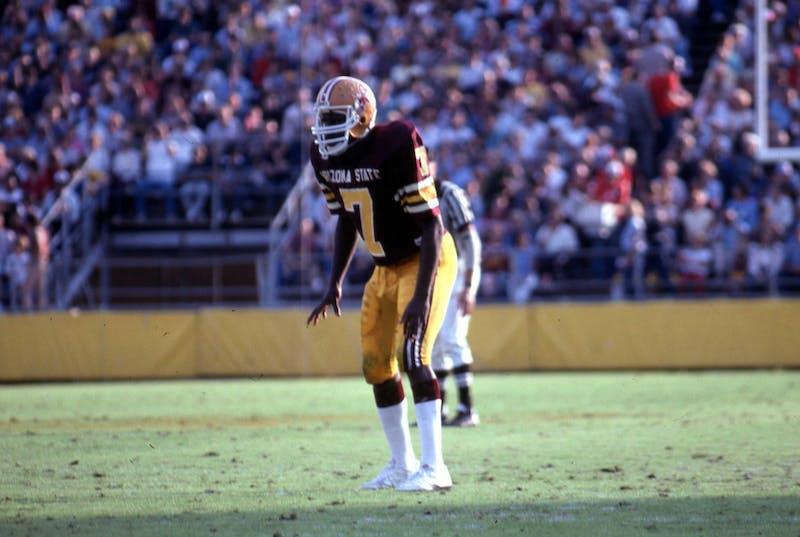 Former ASU football safety David Fulcher (7) readies for a play.